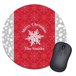 Snowflakes Round Mouse Pad (Personalized)