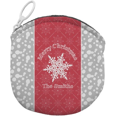 Snowflakes Round Coin Purse (Personalized)