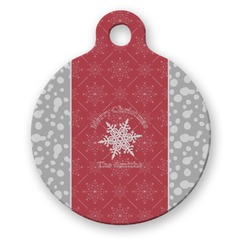 Snowflakes Round Pet ID Tag (Personalized)
