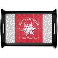 Snowflakes Black Wooden Tray (Personalized)