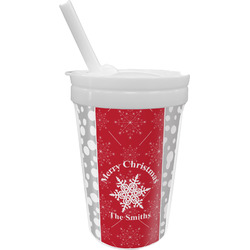 Snowflakes Sippy Cup with Straw (Personalized)