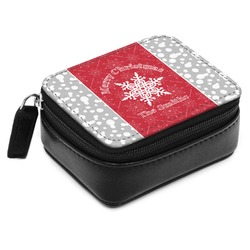 Snowflakes Small Leatherette Travel Pill Case (Personalized)