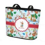 Reindeer Bucket Tote w/ Genuine Leather Trim (Personalized)