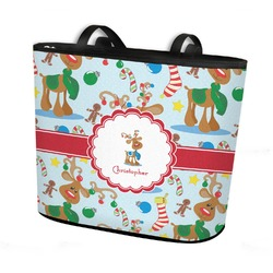 Reindeer Bucket Tote w/ Genuine Leather Trim (Personalized)