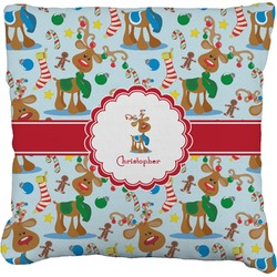 """Reindeer Faux-Linen Throw Pillow 26"""" (Personalized)"""