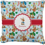 Reindeer Faux-Linen Throw Pillow (Personalized)