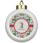 Reindeer Ceramic Ball Ornament (Personalized)