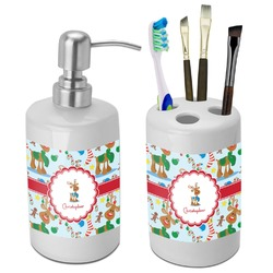 Reindeer Bathroom Accessories Set (Ceramic) (Personalized)