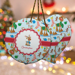 Reindeer Ceramic Ornament w/ Name or Text