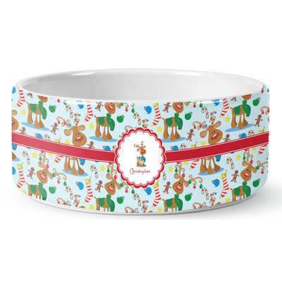 Reindeer Ceramic Dog Bowl (Personalized)
