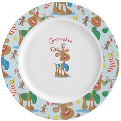 Reindeer Ceramic Dinner Plates (Set of 4) (Personalized)