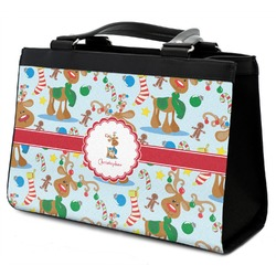 Reindeer Classic Tote Purse w/ Leather Trim (Personalized)