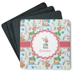 Reindeer 4 Square Coasters - Rubber Backed (Personalized)