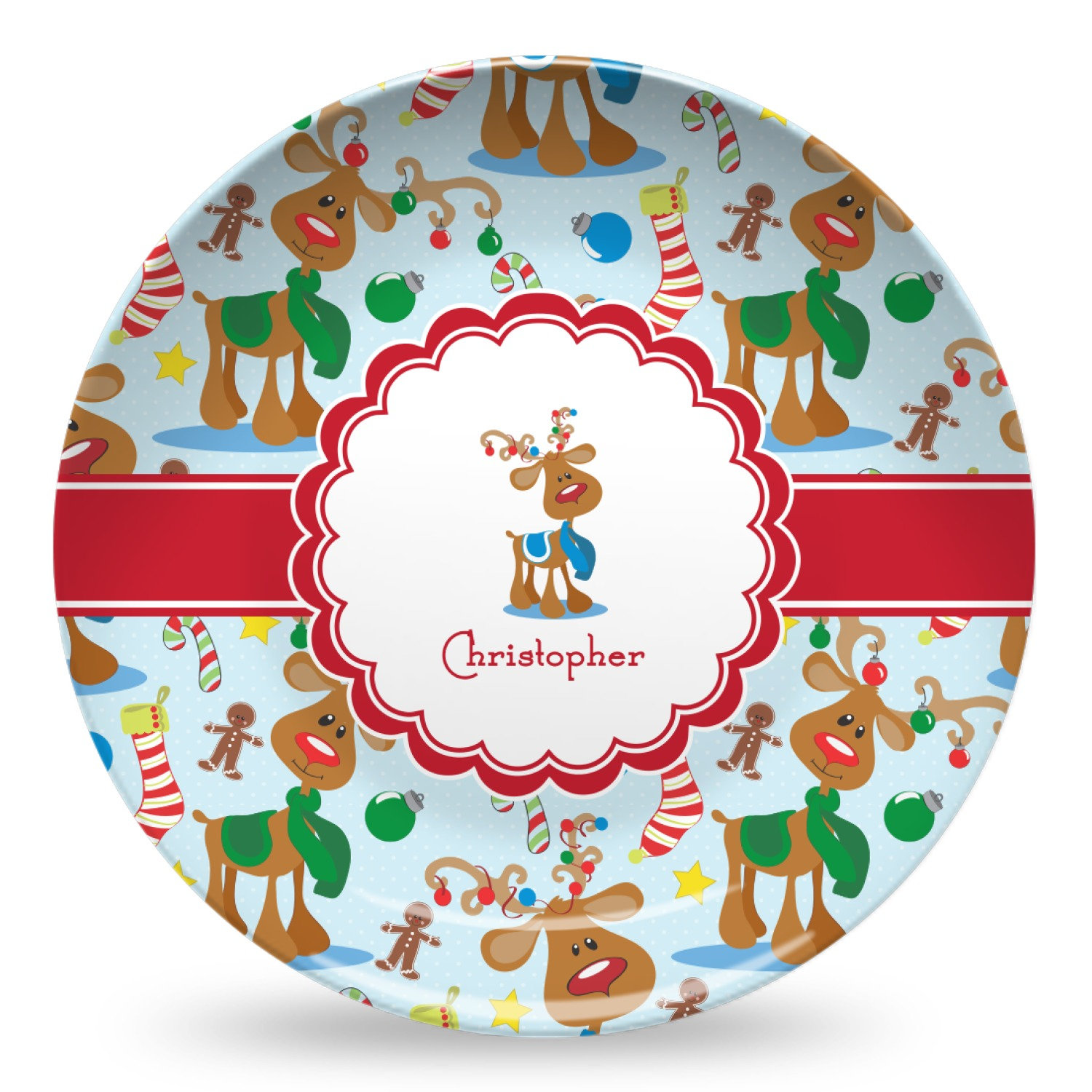 reindeer microwave safe plastic plate composite polymer personalized youcustomizeit. Black Bedroom Furniture Sets. Home Design Ideas