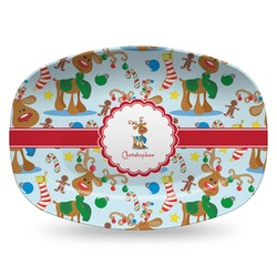 Reindeer Plastic Platter - Microwave & Oven Safe Composite Polymer (Personalized)