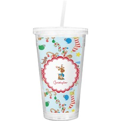 Reindeer Double Wall Tumbler with Straw (Personalized)