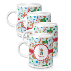 Reindeer Espresso Mugs - Set of 4 (Personalized)
