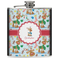 Reindeer Genuine Leather Flask (Personalized)