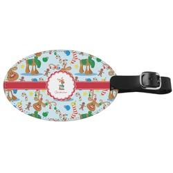 Reindeer Genuine Leather Oval Luggage Tag (Personalized)