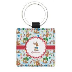 Reindeer Genuine Leather Rectangular Keychain (Personalized)