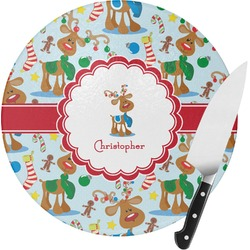 Reindeer Round Glass Cutting Board (Personalized)