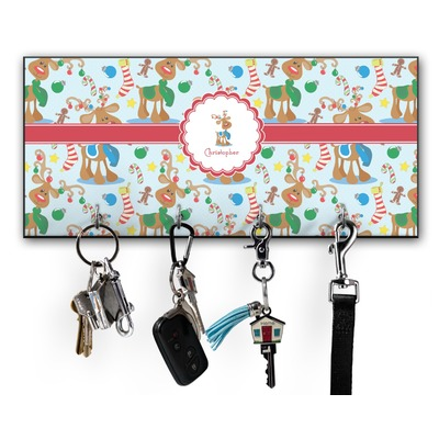 Reindeer Key Hanger w/ 4 Hooks w/ Graphics and Text