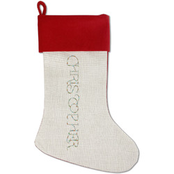 Reindeer Red Linen Stocking (Personalized)