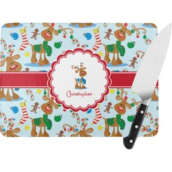 Reindeer Rectangular Glass Cutting Board (Personalized)