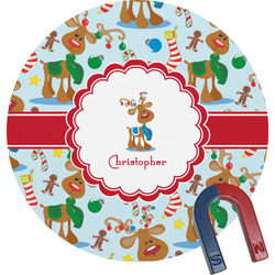 Reindeer Round Fridge Magnet (Personalized)
