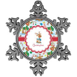 Reindeer Vintage Snowflake Ornament (Personalized)