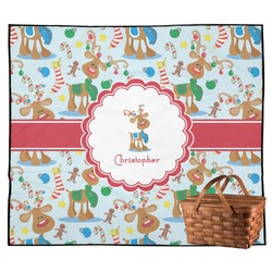 Reindeer Outdoor Picnic Blanket (Personalized)