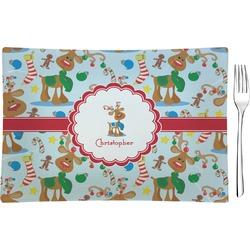 Reindeer Rectangular Glass Appetizer / Dessert Plate - Single or Set (Personalized)