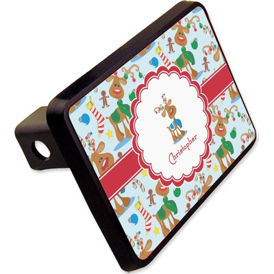 """Reindeer Rectangular Trailer Hitch Cover - 2"""" (Personalized)"""