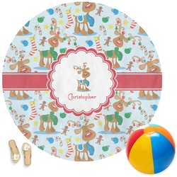 Reindeer Round Beach Towel (Personalized)
