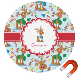Reindeer Round Car Magnet (Personalized)