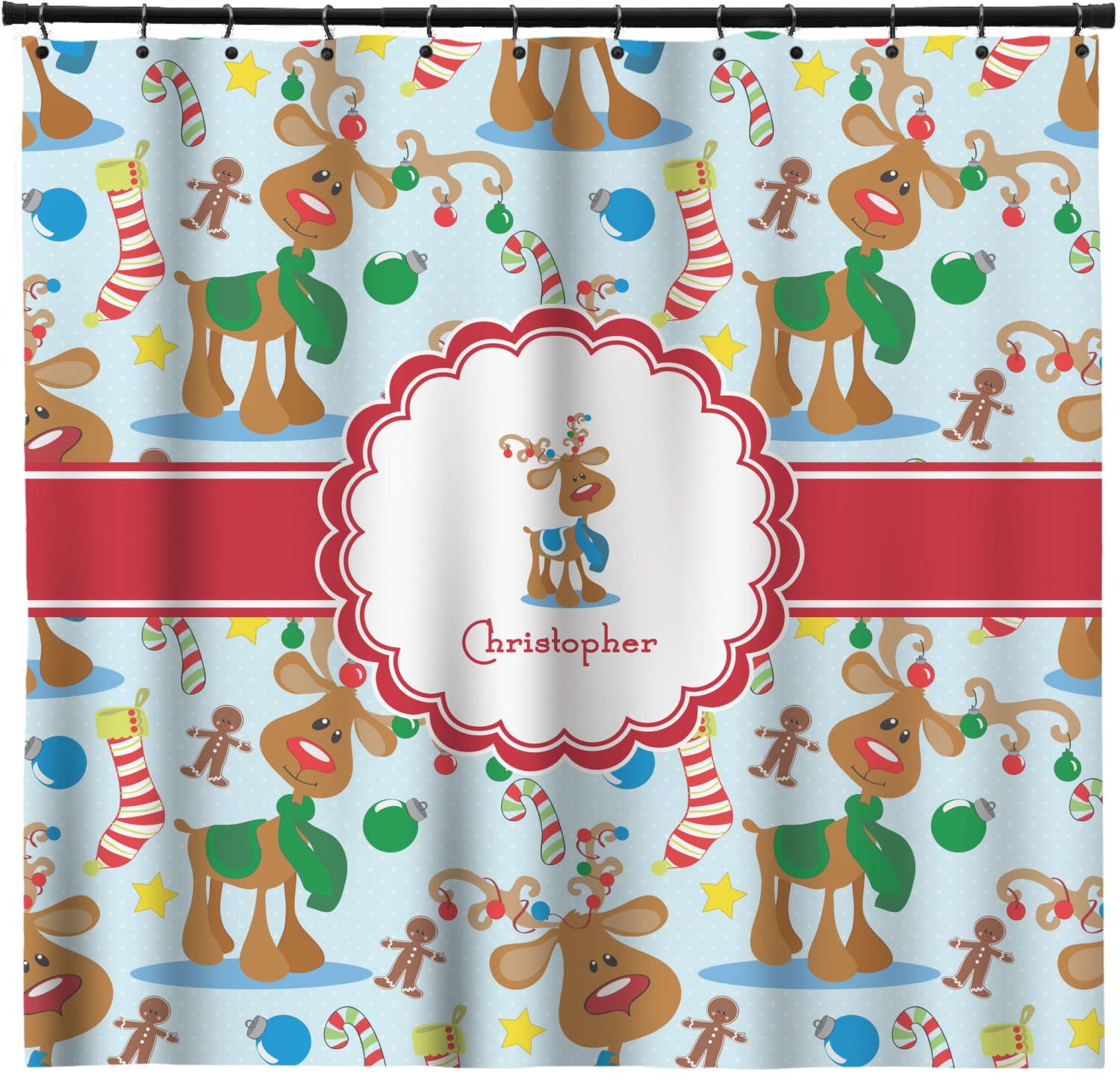 Reindeer Shower Curtain Personalized