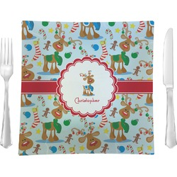 "Reindeer Glass Square Lunch / Dinner Plate 9.5"" - Single or Set of 4 (Personalized)"