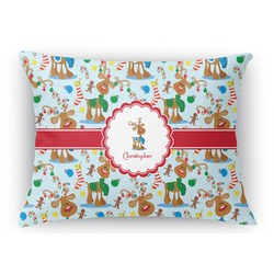 Reindeer Rectangular Throw Pillow Case (Personalized)