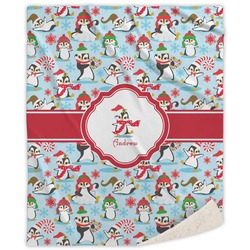 Christmas Penguins Sherpa Throw Blanket (Personalized)