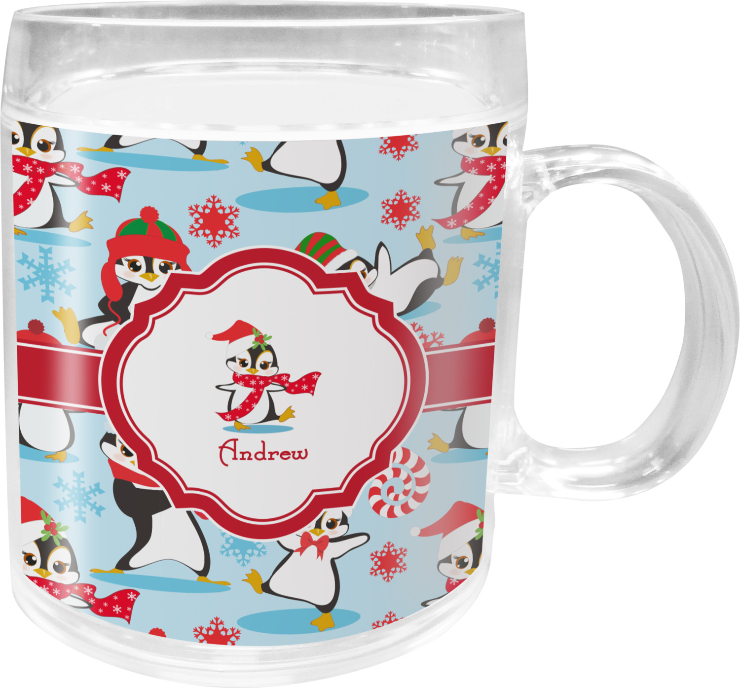 Christmas Penguins Acrylic Kids Mug (Personalized) - YouCustomizeIt