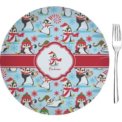 "Christmas Penguins Glass Appetizer / Dessert Plates 8"" - Single or Set (Personalized)"