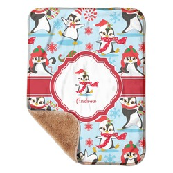 """Christmas Penguins Sherpa Baby Blanket 30"""" x 40"""" (Personalized)"""