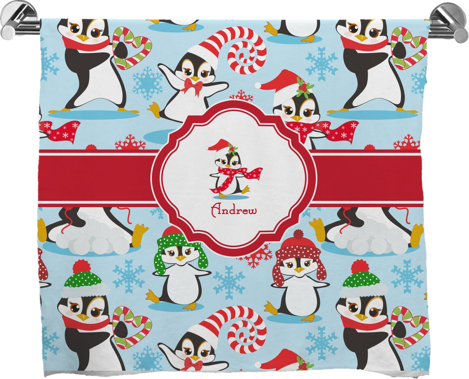 christmas penguins full print bath towel personalized youcustomizeit