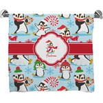 Christmas Penguins Full Print Bath Towel (Personalized)