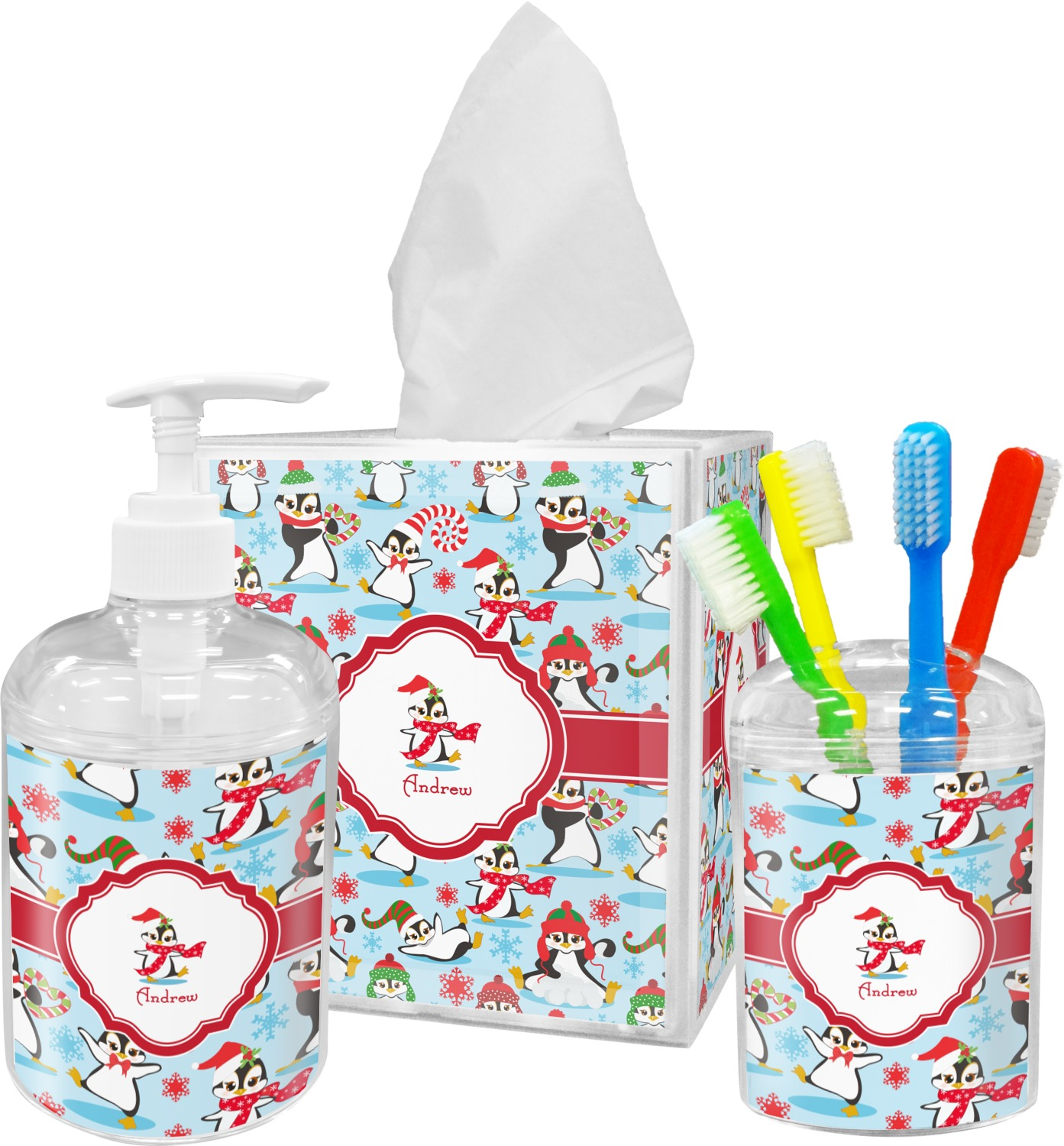 Christmas penguins bathroom accessories set personalized - Monogrammed bathroom accessories ...