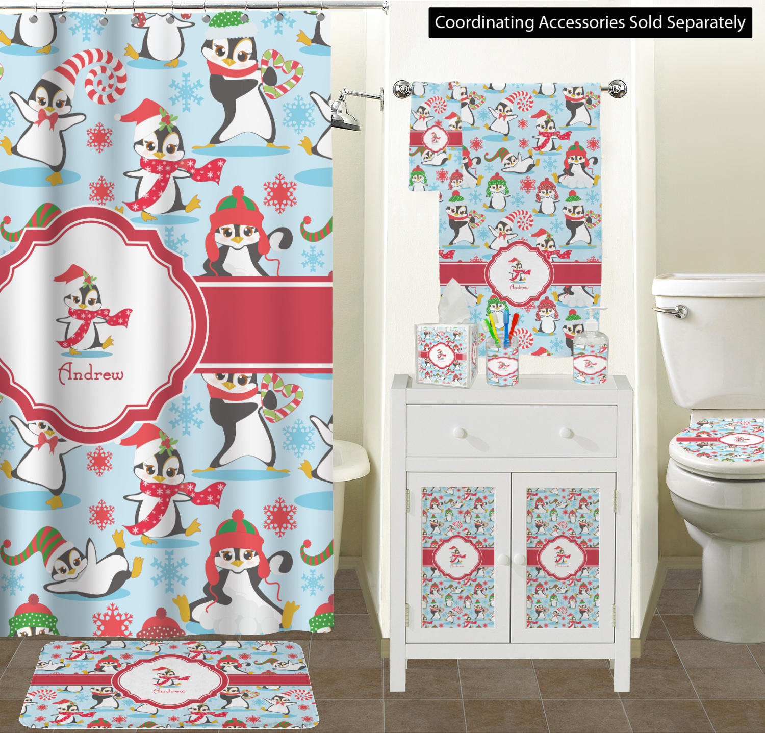 Christmas Penguins Bathroom Accessories Set Personalized