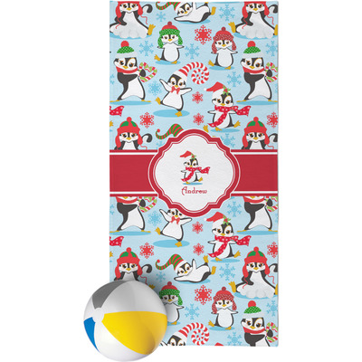 Christmas Penguins Beach Towel (Personalized)