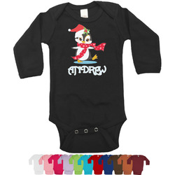 Christmas Penguins Bodysuit - Black (Personalized)