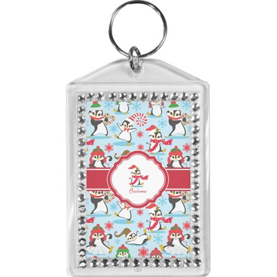 Christmas Penguins Bling Keychain (Personalized)
