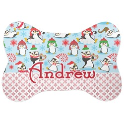Christmas Penguins Bone Shaped Dog Food Mat (Personalized)